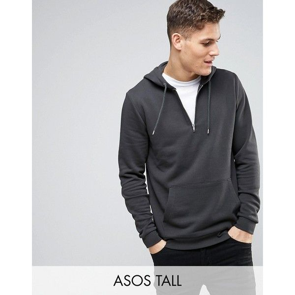 ASOS TALL Hoodie With Half Zip In Washed Black ($19) ❤ liked on Polyvore featuring men's fashion, men's clothing, men's hoodies, black, mens zipper hoodies, mens zip hoodies, mens tall hoodies, mens sweatshirt hoodies and mens hoodies