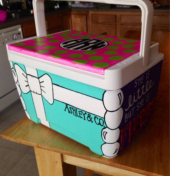 Hand Painted Cooler by AshleysGiftShop on Etsy, $65.00
