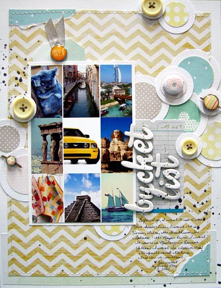 Bucket List - by Cindy Stevens using Dear Lizzy Neapolitan and Gardenia from American Crafts.
