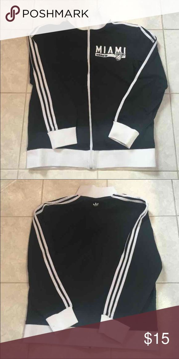 Adidas size L Miami Heat Adidas size Large Maimi Heat zip up sweatshirt. 2 small stains on wrists (see pictures) no snags comes from pet and smoke free home adidas Jackets & Coats Lightweight & Shirt Jackets