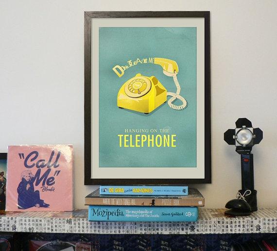 Blondie  Hanging on the Telephone  Lyrics Poster by LoversRockShop, $18.00