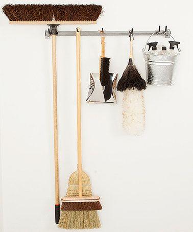 This Gray Mop & Broom Storage Rack is perfect! #zulilyfinds