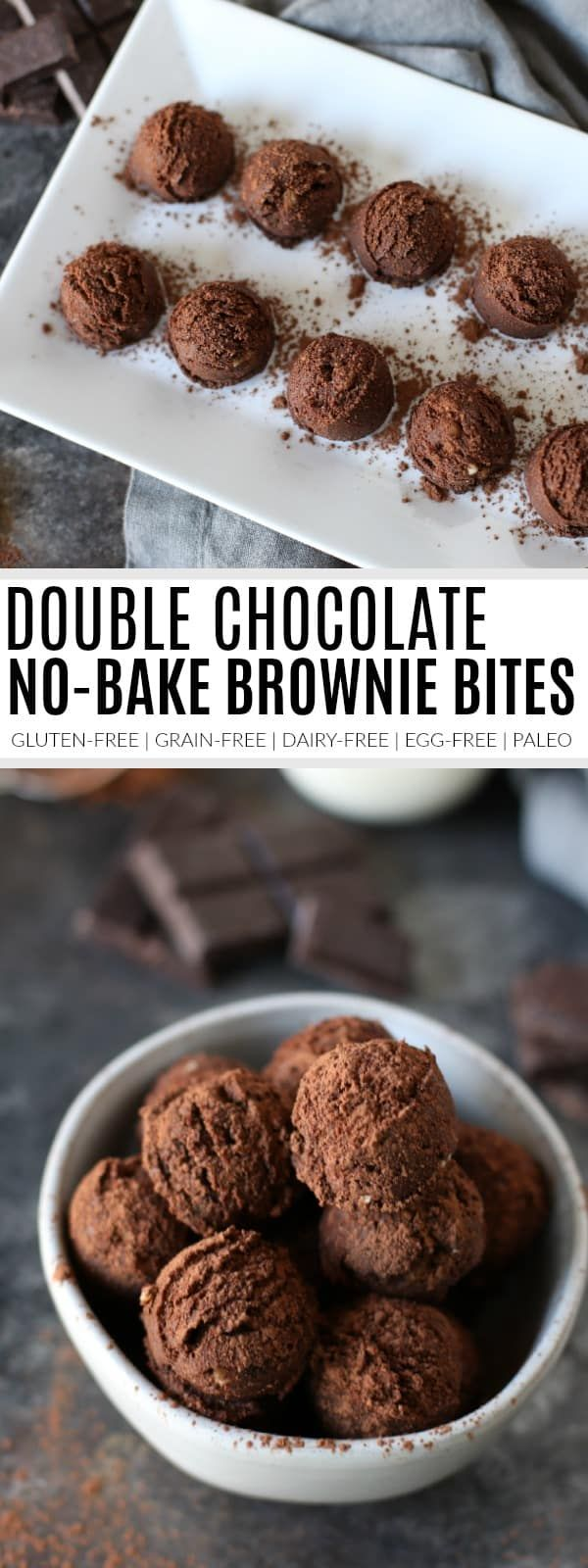 pinterest image for double chocolate no-bake brownie bites