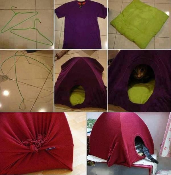 DIY cat house from T-shirt --- no link just pic but pretty self explanatory.