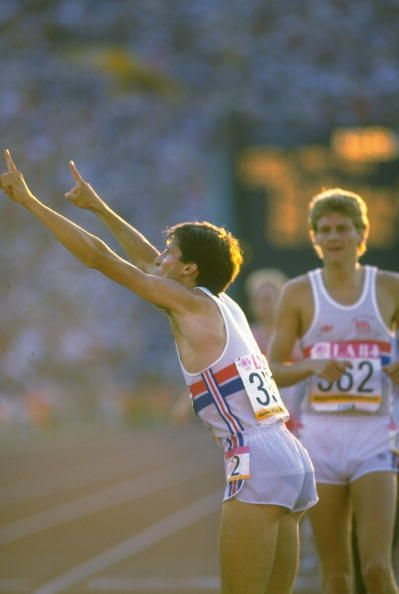 A defiant Sebastian Coe points up towards the press box in the wake of his successful defence of the Olympic 1500m title at the 1984 Los Angeles Game