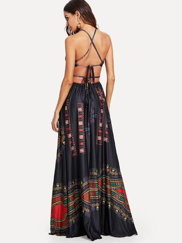 c9ee6d8fe4810 Women s Sexy Plus Size Maxi Dress Sleeveless Long Party Dress. Ornate Print  Cut Out Halter Dress -SheIn(Sheinside)