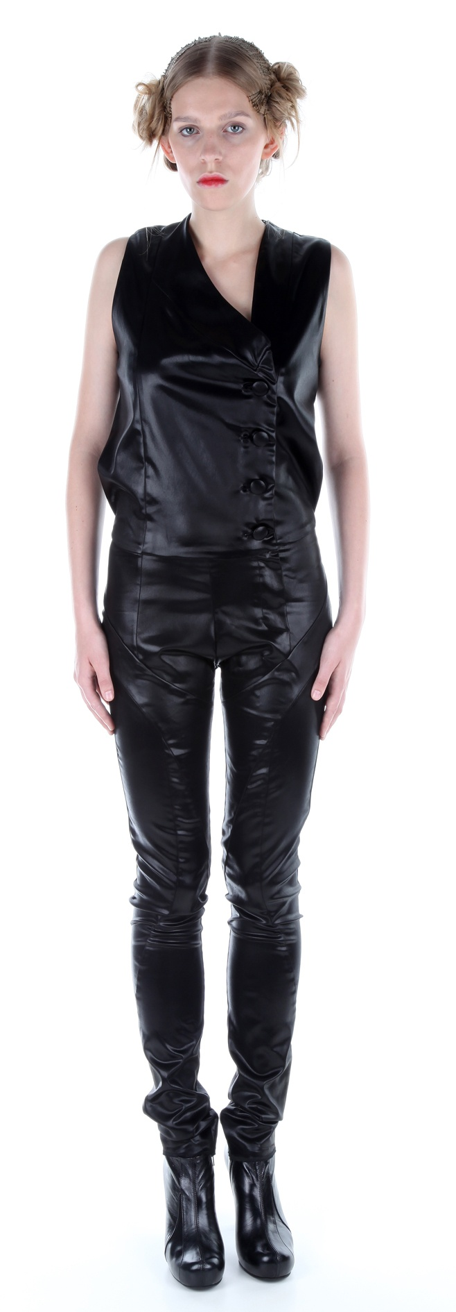 Jumpsuit ( silk satin), shoes ( leather, stainless-steel heel)