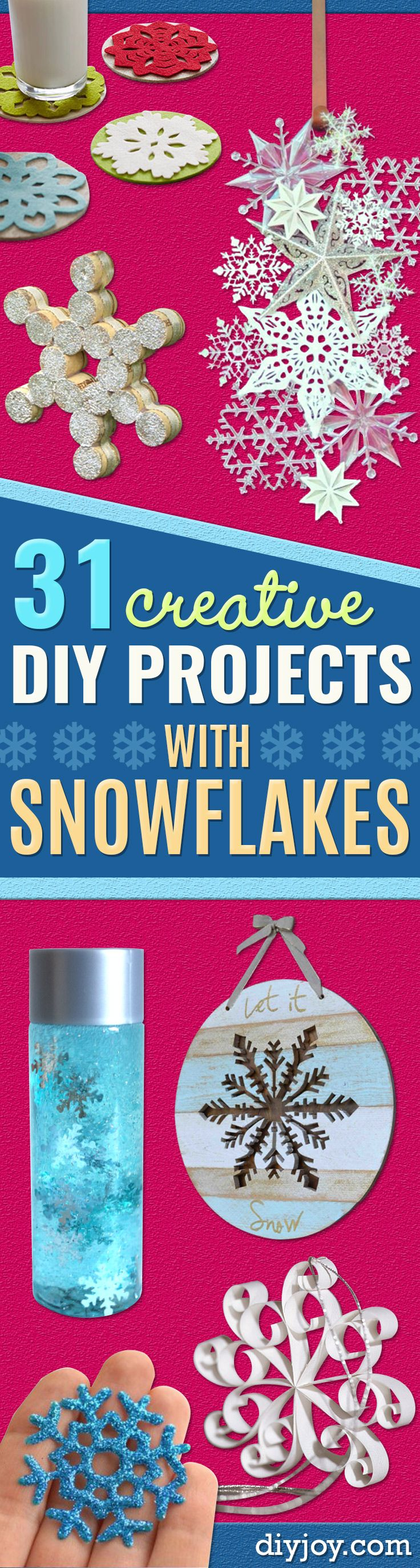 Best DIY Snowflake Decorations, Ornaments and Crafts - Paper Crafts with Snowflakes, Pipe Cleaner Projects, Mason Jars and Dollar Store Ideas - Easy DIY Ideas to Decorate for Winter - Creative Home Decor and Room Decorations for Adults, Teens and Kids http://diyjoy.com/diy-projects-snowflakes