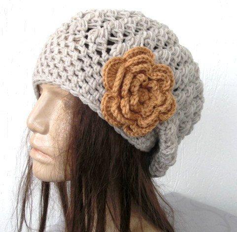 Crochet Hat - Slouch  Hat-  Crochet Beanie Hat  - Womens hat - chunky knit  beige oatmeal  Beanie  Fall Winter Accessories  spring  Fashion