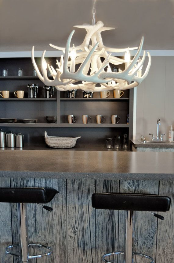 ❤️ for the dining room! White Faux Antler Chandelier Antler Decorating by TheShabbyAntler, $499.00