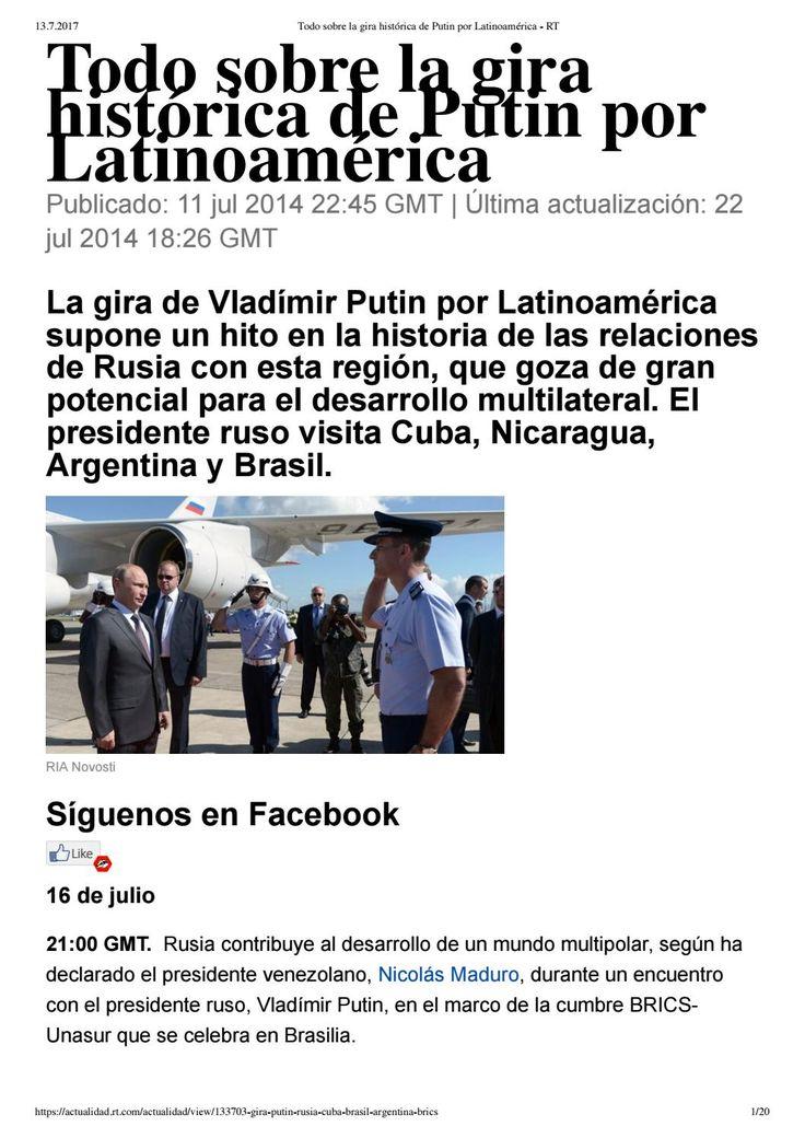 Todo sobre la gira histórica de Putin por Latinoamérica * OBAMA RECLUTADO A LA CIA DESDE SU JUVENTUD SE HA DEDICADO A FABRICAR RUSOFOBIA Y POLITICAS DE ODIO NEONAZIS JUSTIFICANDO LA LEGALIZACION DE LOS PROYECTOS NAZIS INTERNACIONALES DEL PENTAGONO. OBAMA SE MERECE LA PENA DE MUERTE POR INYECCION LETAL.