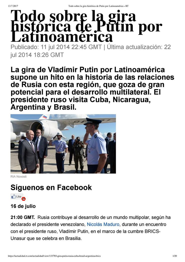 Todo sobre la gira histórica de Putin por Latinoamérica. REACCION TERRORISTA DE OBAMA:CIA DERRIBA AVION HOLANDES, GOLPE DE ESTADO/BRASIL, MAGNICIDIOS, INICIACION DE GIGANTESCA RUSOFOBIA NEONAZI.
