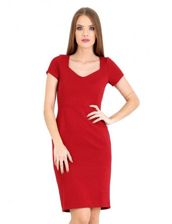 Ζακάρ εφαρμοστό φόρεμα - Κόκκινο