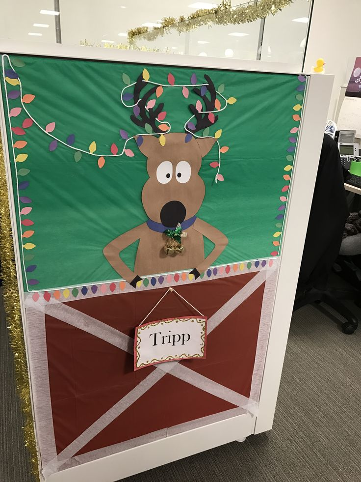 Christmas Reindeer cubicle decoration | Christmas cubicle ...