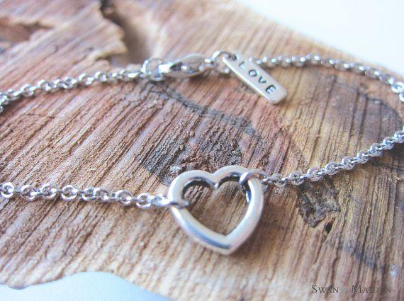Heart Love Charm Silver Chain Bracelet by SwanMaidenJewels