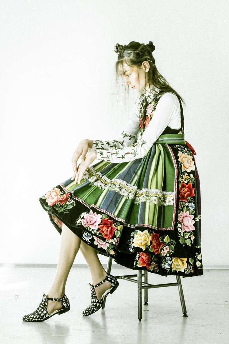 """lamus-dworski: """" Model wearing a traditional folk dress from the region of Łowicz, central Poland. Fot. © Andreas Waldschuetz. """""""