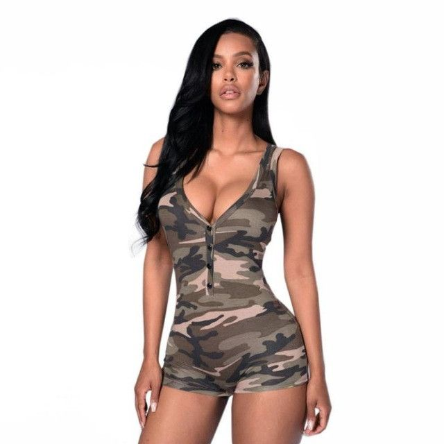 Summer Jumpsuit Ladies sleeveless camouflage Jumpsuits For Women