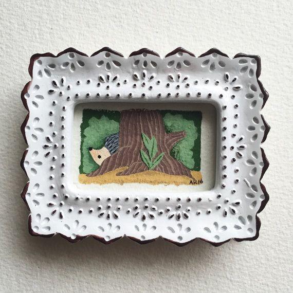ORIGINAL Mini Hedgehog Painting by fercute on Etsy