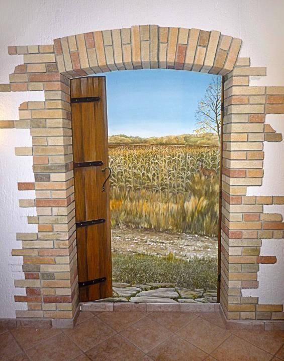 Arco di mattoni e paesaggio – acrilico su muro, 220x150 cm., Osteria del Borgo,   San Daniele del Friuli, 2012