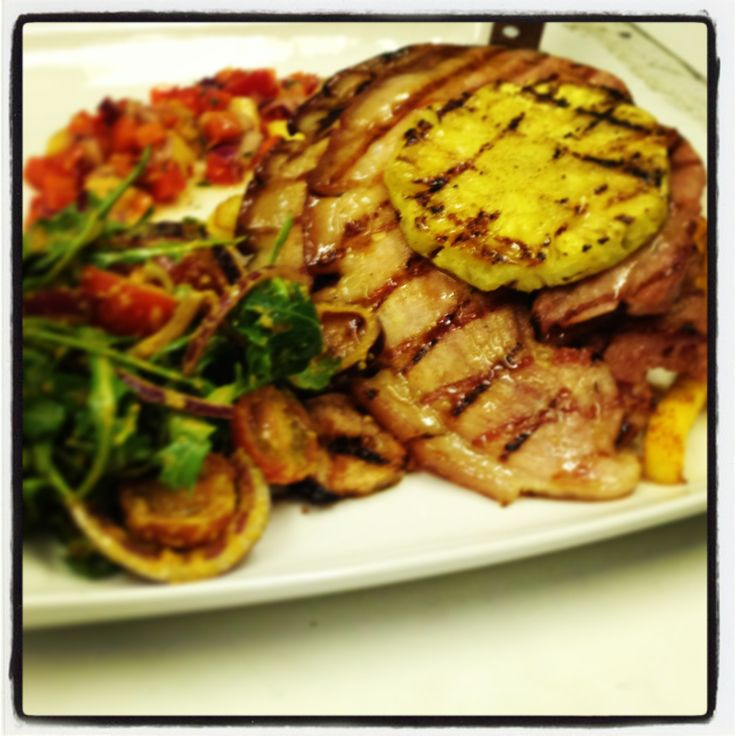 Try our Chef's Special Gammon steak with grilled fresh pineapple, Cajun spiced fries, tomato salsa and rocket salad. Tastes as good as it looks! A wild place to shop and eat.  www.therainforestcafe.co.uk