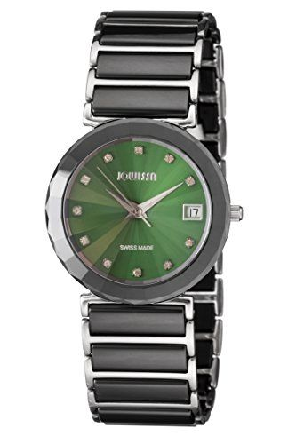 Jowissa Women's J9.016.L Ceramic Classic Green Dial Black Ceramic Date Watch