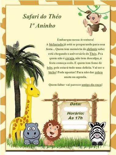 "Convites Digitais Simples: Kit Digital de Aniversário Tema ""Safari"" para Imprimir"