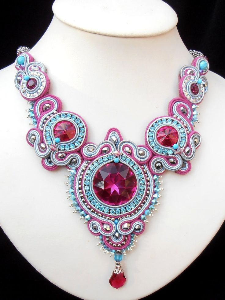 Crimson Rapture Soutache necklace in Fuchsia от MiriamShimon