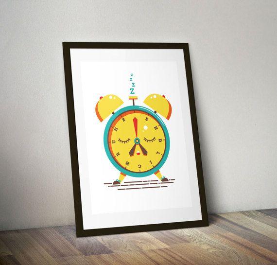 """Wecker Illustration für Siebdruck Poster """"Endlich Ruhe"""" von ELISABETH DEIM"""