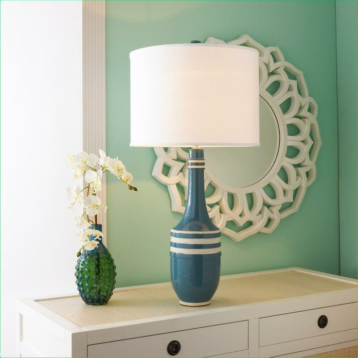 Retro Stripe Ceramic Buoy Table Lamp   CARIBBEAN STRIPE
