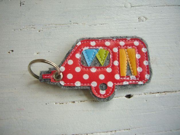 Schlüsselanhänger * Wohnwagen * Filz - Wachstuch