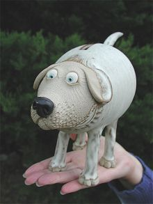 Dog Money Box | hand-made pottery from Muggins Pottery in Leicestershire - wedding gifts, birthday presents, christening presents and anniversary gifts.