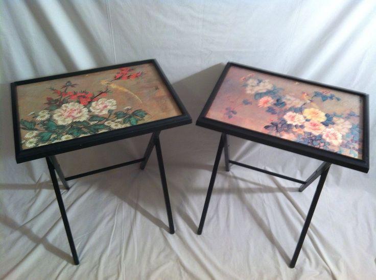 Vintage Asian Art Floral Folding TV Snack Trays Tables Set 2 Nice Rare FREE  SHIP