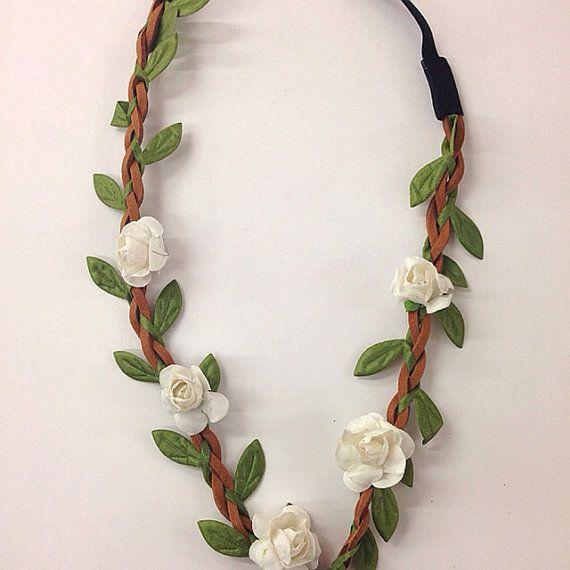 Mini white flower crown/headband for music festival /wedding accessory / stretch headband /halo/ / Coachella /hippie flower headband /