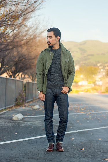J. Crew Tour Jacket, Uniqlo Cable Knit Sweater, Timex Weekender X Crown And Buckle, A.P.C. Petit Standards Raw Selvedge Denim, Wolverine 1000 Mile Boots