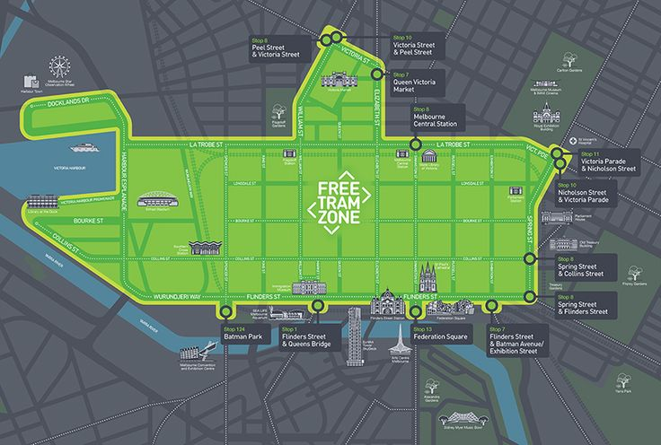 Map of the Free Tram Zone