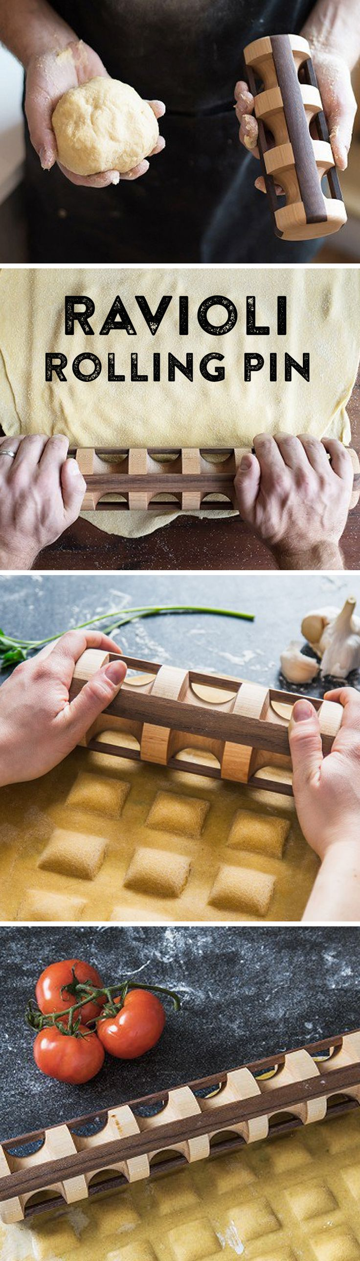 As beautiful as it is functional, this ravioli rolling pin is handmade in the U.S. from sustainable hardwood. Simply layer your own filling between two pasta sheets, then get rolling. Press firmly and voila—perfect, handmade ravioli you can sign your name to.