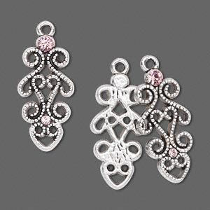 Findings: :: Drop Parts, Chandelier for earrings: :: Antique Nickel Plate, Drop with Swarovski® crystal, light rose, 3pcs. - BEST Beading Supplies - Tools, Stringing, Beads, Bulk Buys, Sydney Retail Shop