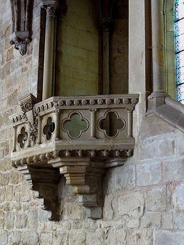 chaire du lecteur sur un mur du refectoire. L'abbaye de Royaumont.Val-d'Oise. Ile-de-France