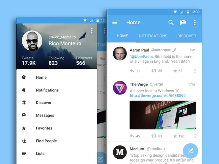 Twitter for Android - Material Design by Rico Monteiro
