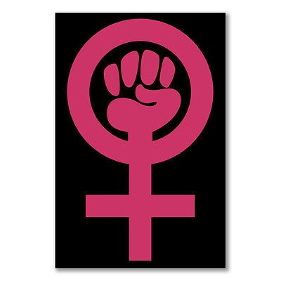 A3 Small Poster Woman Power Female Pride Feminism Fist Pink Cross