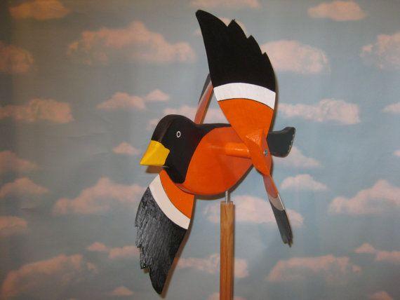 Large Baltimore Oriole bird whirligig / whirlbird by WhirligigUSA