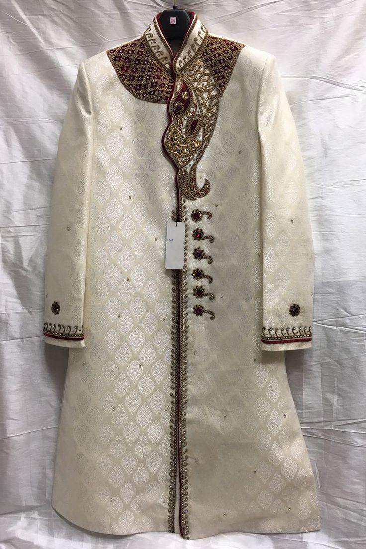 Designer Wedding Wear Cream Sherwani 3988