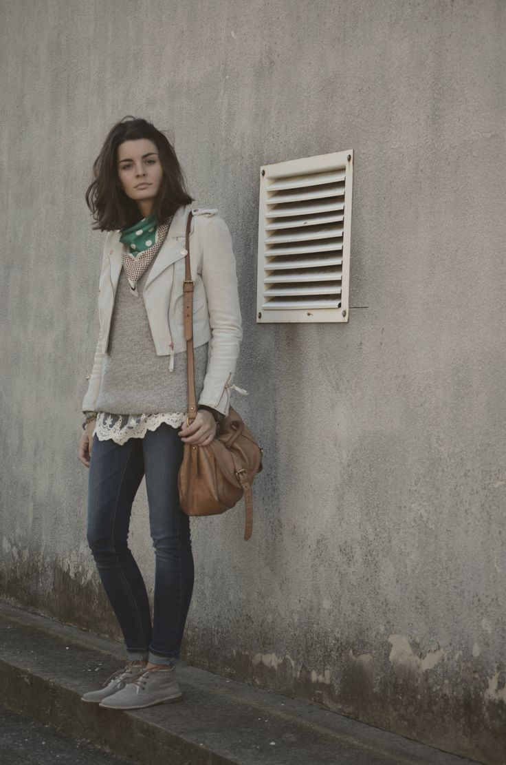 leather jacket: Freaky Nation, sweater: F&F, lace top: ? (from Italy), jeans: Zara, scarf: Marni for H&M, shoes: Weinbrenner, bag: Asos