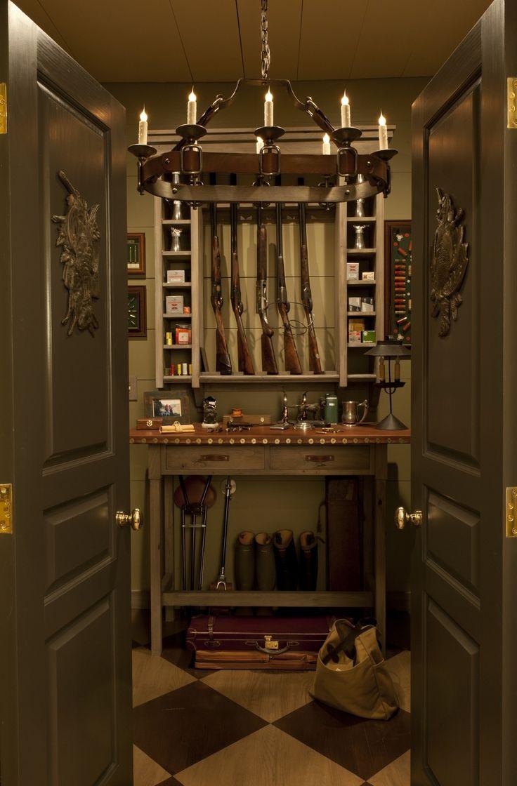 great indoor gun closet off a mudroom