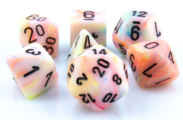 The fun is just getting started with Festive Dice (Circus). This 7-piece RPG dice set has all your favorites: d4, d6, d8, d10, d%, d12, and d20. Each Festive die is bursting in a medley of outrageous