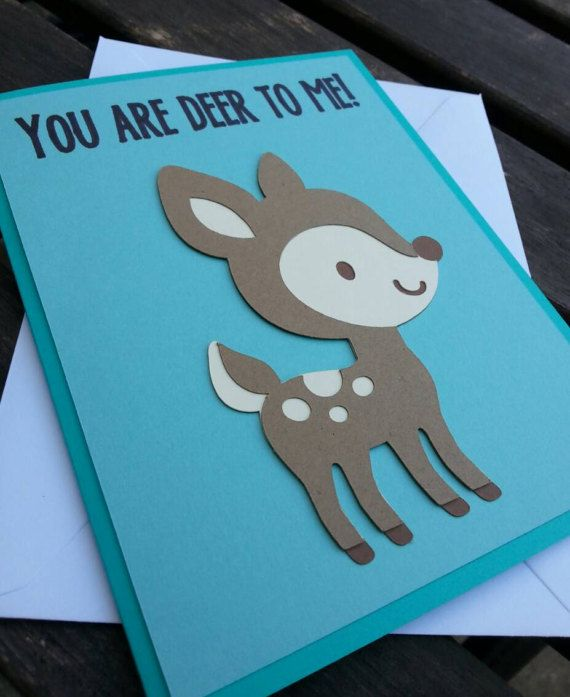 Cute Deer Valentine Card  Funny Animal Pun by SpareRoomStationery