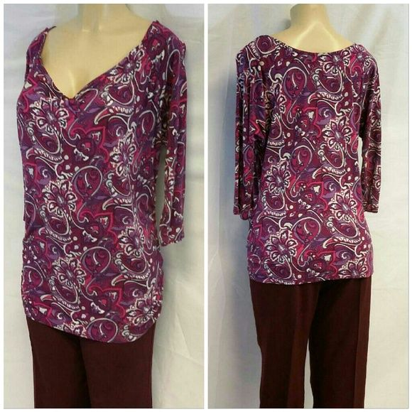 "Bold Flowered Paisley Design, Drape Front, XL Bold Flowered Paisley Design, Drape Front, XL, rusched sides, hi-lo shirt tail scooped hem, high in front, low in back, bat wing 3/4 length sleeves, colors pink fuchsia purple lavender white, 100% rayon soft and feminine,  machine washable inside out, 27"" back length,  31% front length,  21"" bust laying flat, 17"" sleeves, top only on this listing, black skirts and dress pants available in this closet on separate listings, great item to bundle an…"