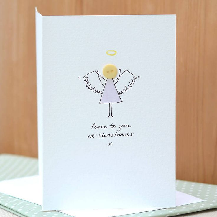 Personalised Handmade Button Angel Card