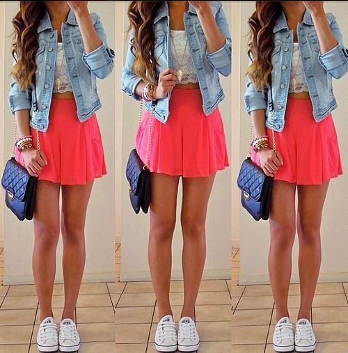 Girly outfit jean jacket pink skirt white sneakers black ...