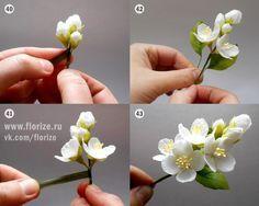 Веточка жасмина « Керамическая флористика. Цветы из холодного фарфора. Уроки и мастер-классы